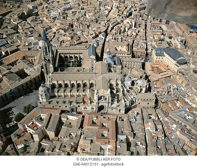 Aerial view of Toledo with Cathedral (UNESCO World Heritage List, 1986) - Castilla-La Mancha, Spain