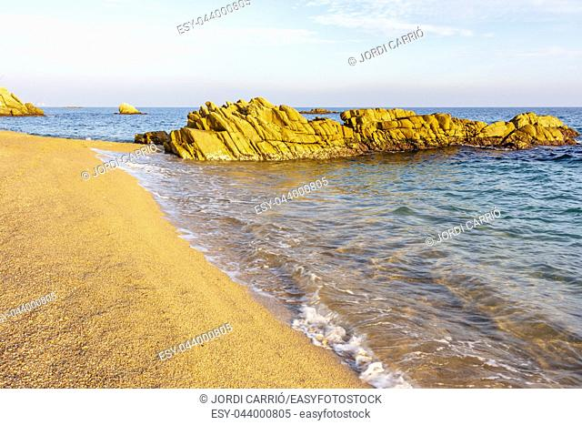 View of the rocks on Platja d'Aro beach, Costa Brava, Catalonia