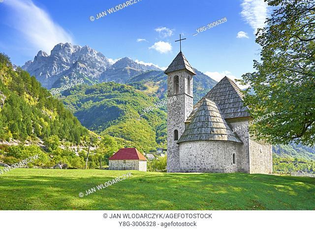 Small Roman Catholic church in Theth. Theth, Thethi, Albania