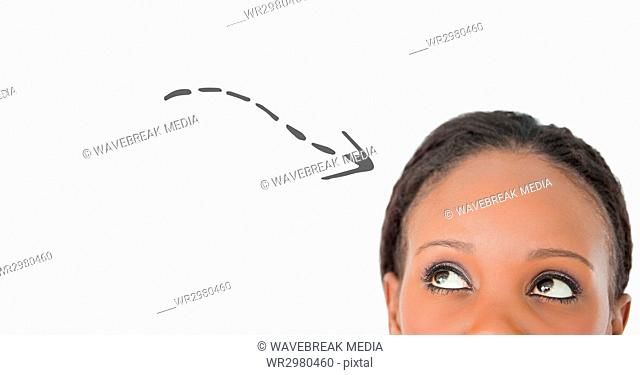 Top of woman's head looking at grey downward arrow against white background