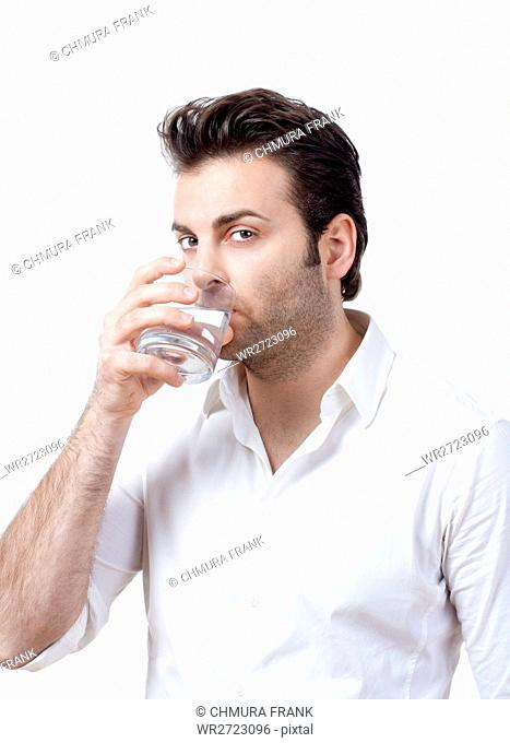 adult, background, businessman, businesspeople, corporate, drink, drinking, face, glass, hair, hand, head, holding, human, isolated, looking, male, man, model