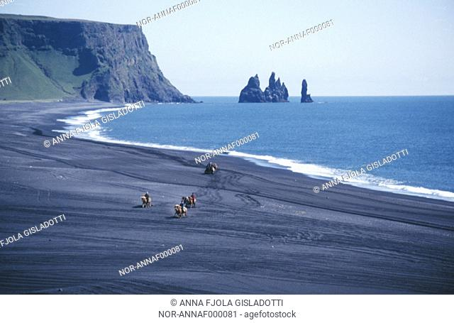 People horseriding on a black beach and the cliffs Reynisdrangar in background