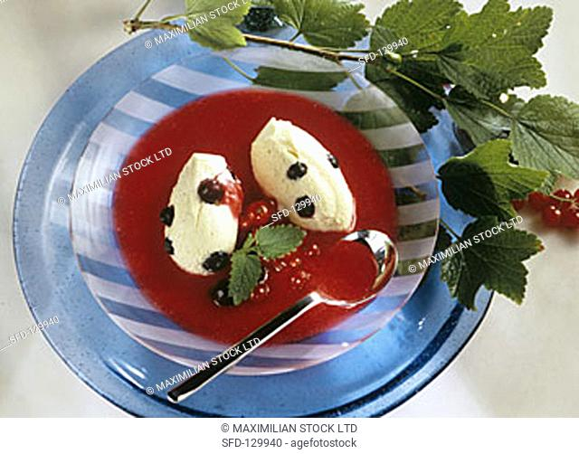 Vanilla quark mousse with redcurrants & redcurrant sauce
