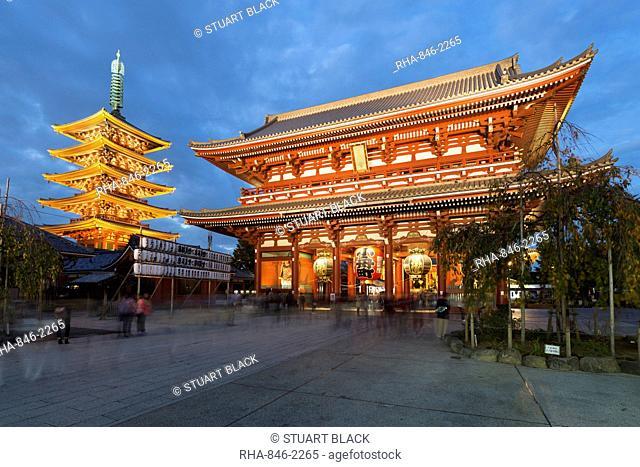 Senso-ji, an ancient Buddhist temple, at night, Asakusa, Tokyo, Japan, Asia