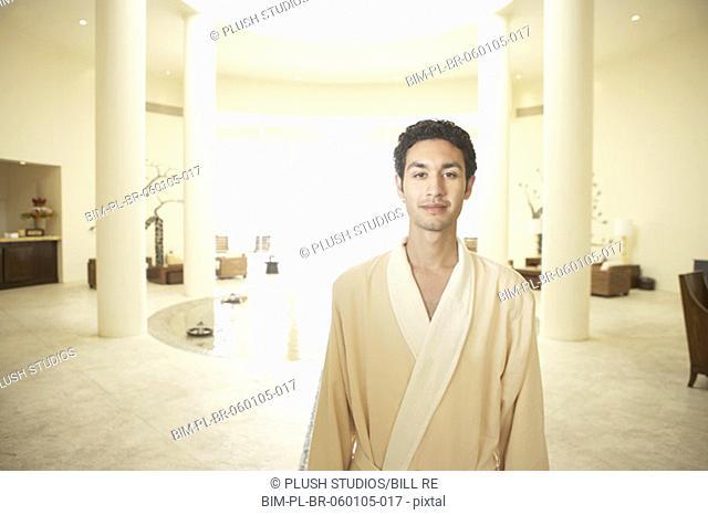 Man in robe at health spa, Los Cabos, Mexico