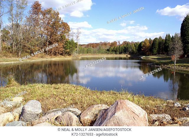 Peaceful pond on bright fall day
