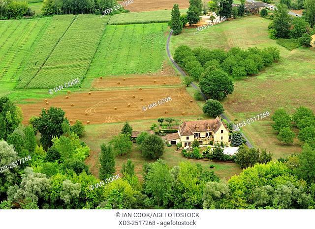 view of Dordogne River Valley from Chateau de Castelnaud, Dordogne Department, Aquitaine, France