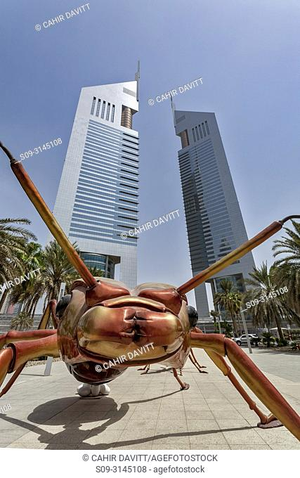 The Jumeirah Emirate Towers complex, designed by NORR Architects, with an Ant public sculpture in the foreground, DIFC, Dubai, Dubayy, United Arab Emirates