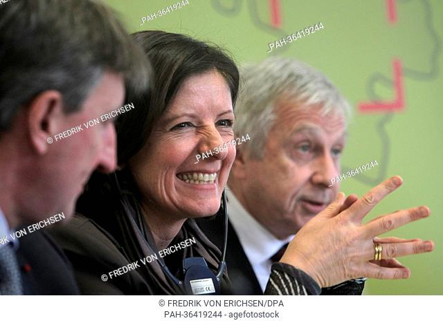Defence Minister of Luxembourg Jean-Marie Halsdorf (L-R), new Premier of Rhineland-Palatinate Malu Dreyer and French politician Jean-Pierre Masseret takes part...