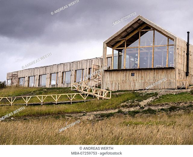 Hotel Simple Patagonia ,wooden construction, large glas front, Puerto Natales, Patagonia, Chile