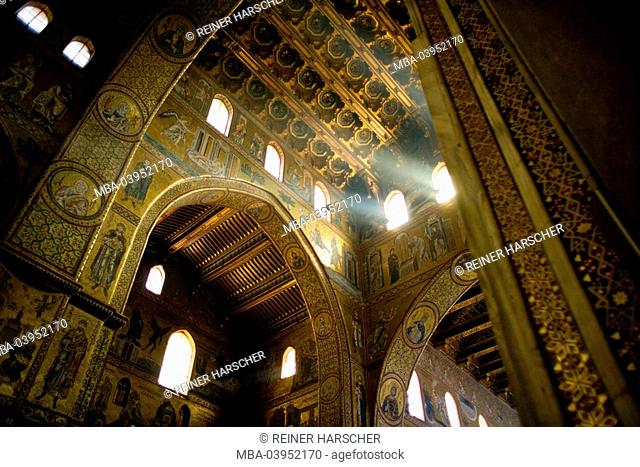 Italy, Sicily, Monreale, cathedral, inside view, Gold mosaic, window, beams of light