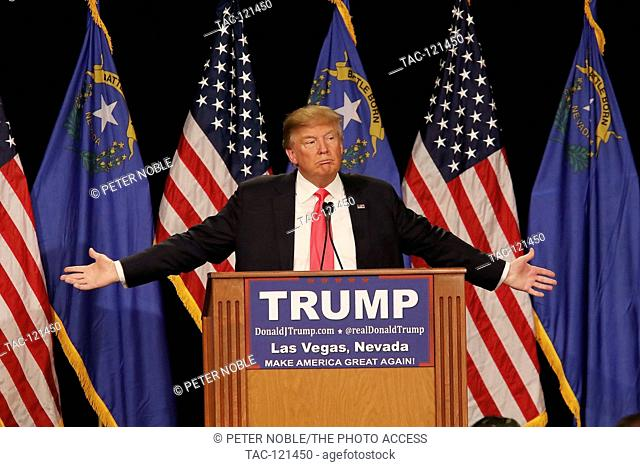 Donald J. Trump speaking at a rally at the South Point Resort and Casino on January 21st, 2016 in Las Vegas Nevada