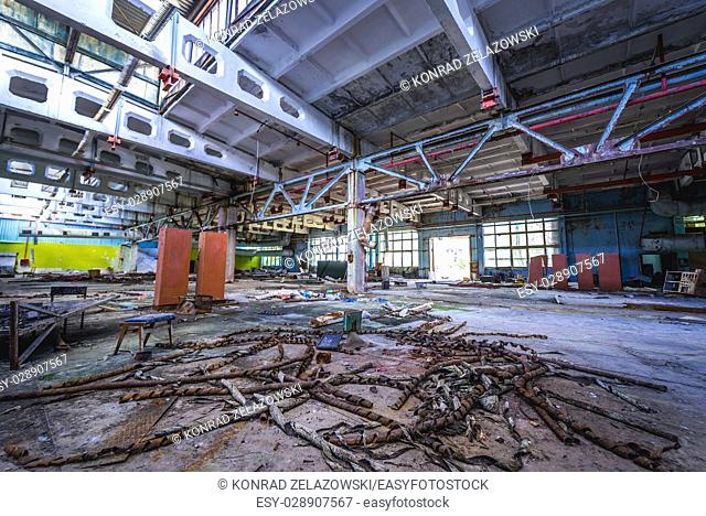 Main wrokshop of abandoned Jupiter Factory in Pripyat ghost town of Chernobyl Nuclear Power Plant Zone of Alienation in Ukraine