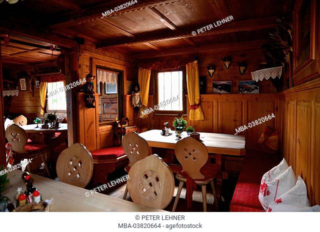 Austria, Tyrol, Zillertal, Höhenstrasse, alpine hut, farmhouse parlour, earthy, rural idyll