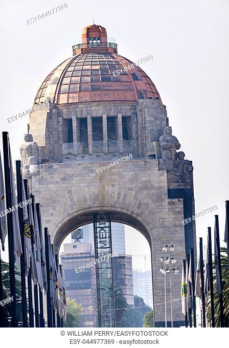 1910 Revolution Monument Mexico City Mexico. Built in 1932 with the remains of many Revolutionary heroes Paseo Reforma Elevator says Vamos Mexico Go Mexico