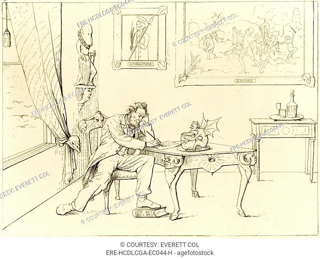 The Civil War. A Southern View, a depiction of President Abraham Lincoln as the devil, writing the Emancipation Proclamation while trampling the U.S