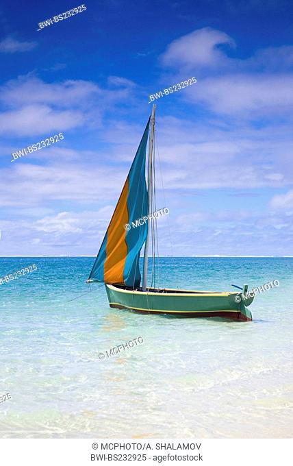 Mauritian wooden boat called Pirogue, Mauritius, Indian Ocean
