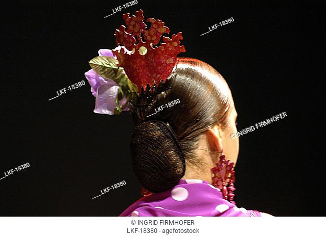 Flamenco Hairstyle, World Flamenco Fair, Sevilla, Andalusia, Spain