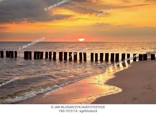 Sunrise at the Baltic Sea, Pomerania, Poland, Europe