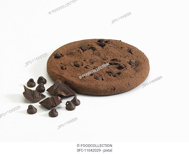 Chocolate Chip Fudge Cookie with Chocolate Chunks and Chocolate Chips