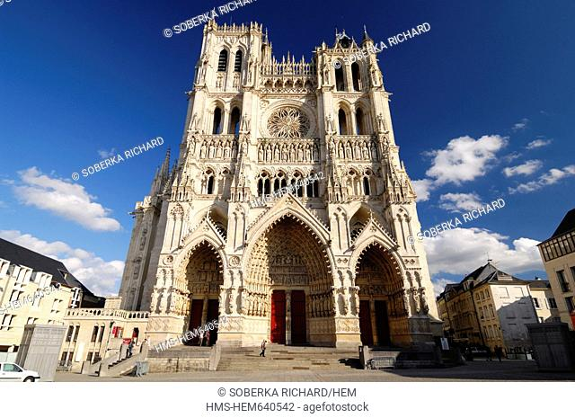 France, Somme, Amiens, Notre Dame d'Amiens Cathedral, listed as World Heritage by UNESCO, the Cathedral facade with its three gates and two towers