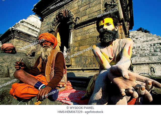 Nepal, central region, Kathmandu Valley, listed as World Heritage by UNESCO, Pashupatinath temple, Sadhus