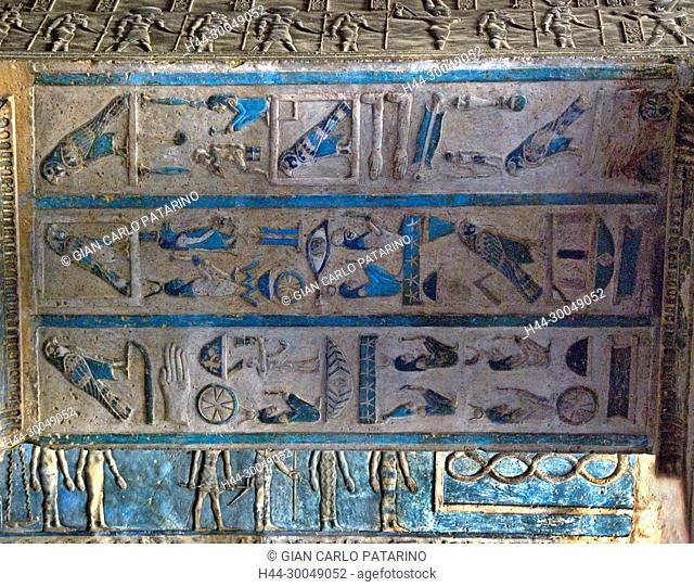 Egypt,Dendera,Ptolemaic temple of the goddess Hathor.View of ceiling before cleaning