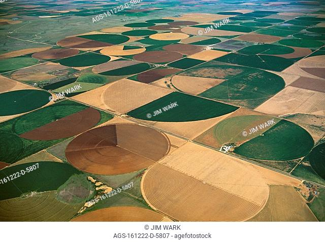 Agriculture - Aerial view of center pivot irrigated circular agricultural fields / TX - nr. Dimmitt