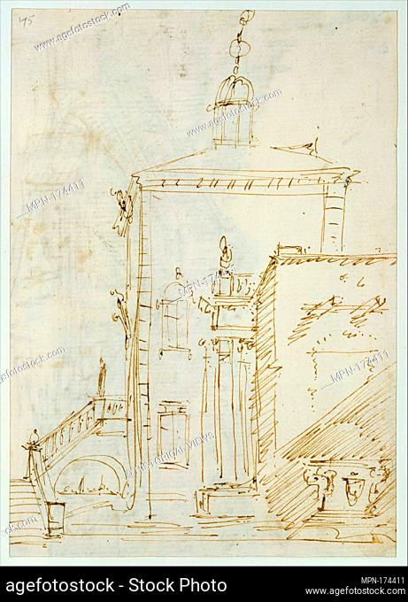 A Magnificent Pavilion by the Lagoon (recto); The Grand Canal, with the Rialto Bridge from the South (verso). Artist: Canaletto (Giovanni Antonio Canal)...