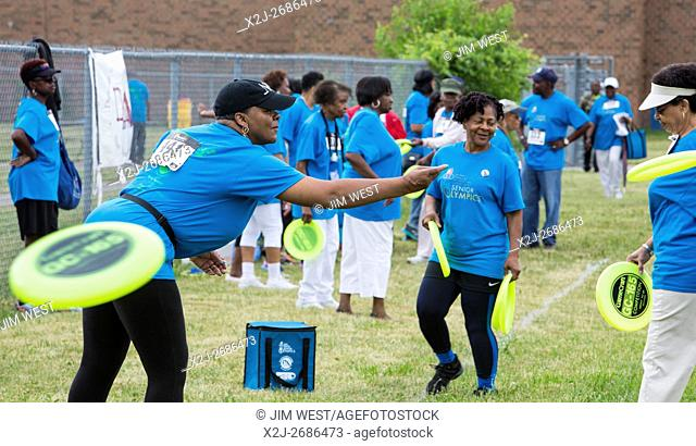 Detroit, Michigan - The frisbee toss in the Detroit Recreation Department's Senior Olympics
