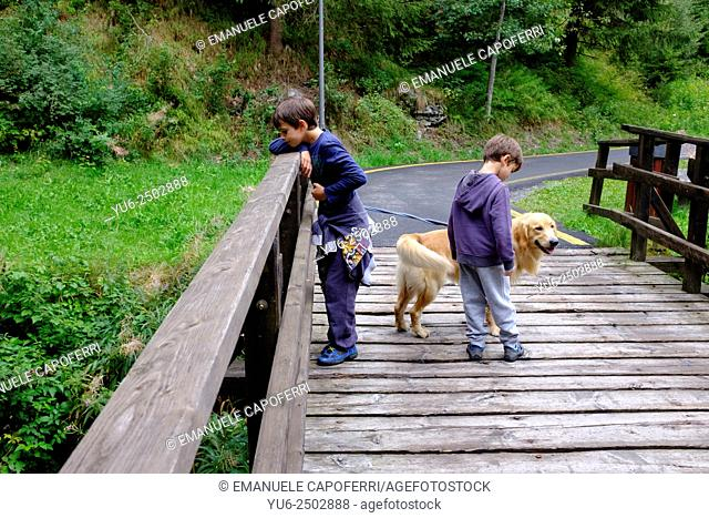 Children walking with their dog on the bike path in the mountains, Valdidentro, Lombardy, Italy