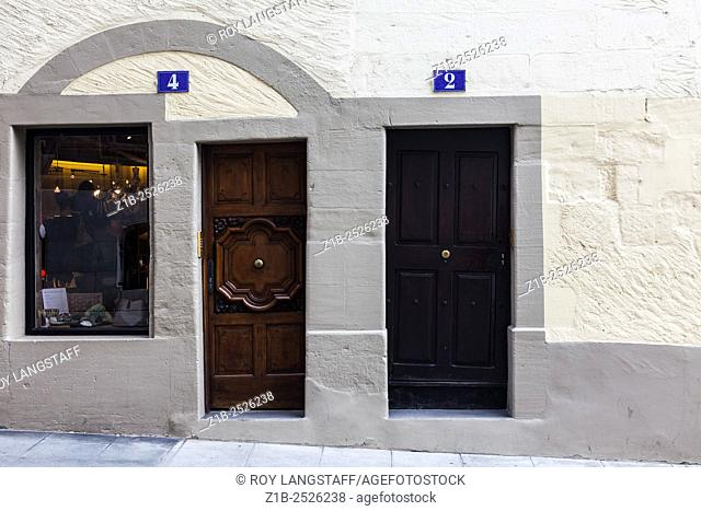 Doors in the old town district of Geneva, Switzerland