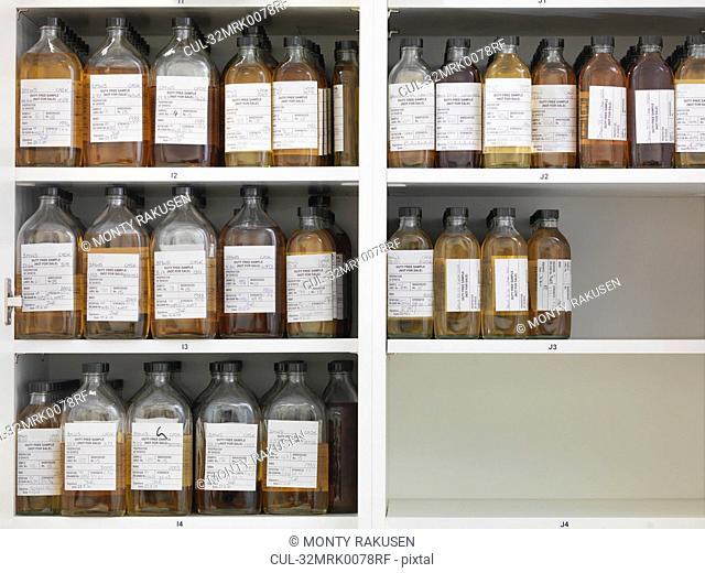 Sample bottles on shelves