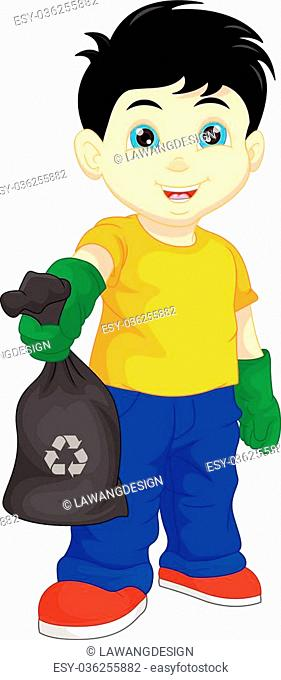 vector illustration of cute boy holding garbage bag