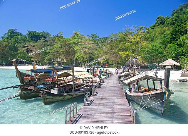 Thailand, Surin Islands Marine National Park, Ko Surin Nua, Boat moored at pier