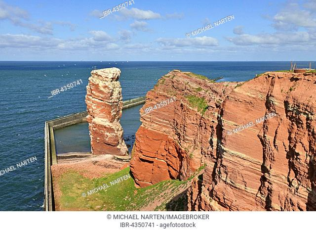 Rock needle, Lange Anna bird rocks and protective wall, Heligoland, Schleswig-Holstein, Germany