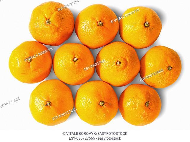 Ripe Juicy Orange Tangerines Isolated On White Background