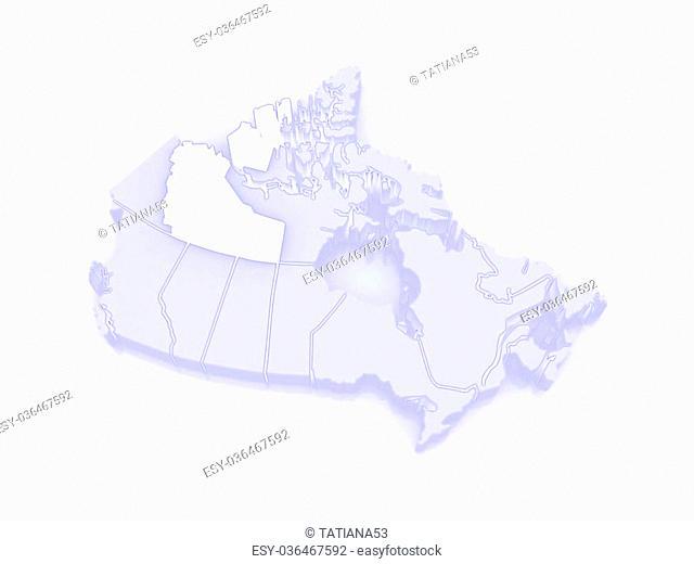 Map of Northwest Territories. Canada. 3d
