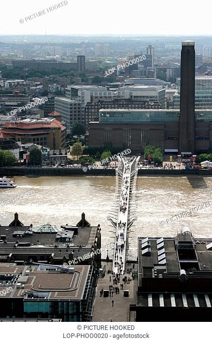 England, London, Millenium Bridge, Tate Modern and the Millennium Bridge viewed from St Paul's Cathedral