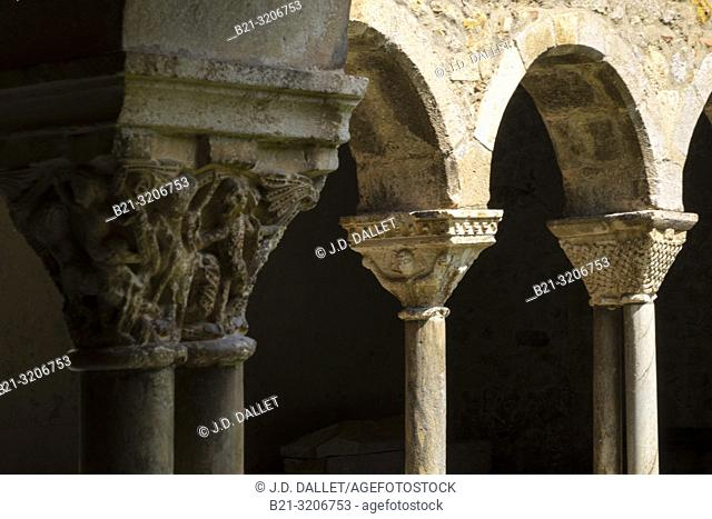 France, Occitanie,Ariege, 12th Century Cloister at the Saint Lizier cathedrale, at Saint Lizier