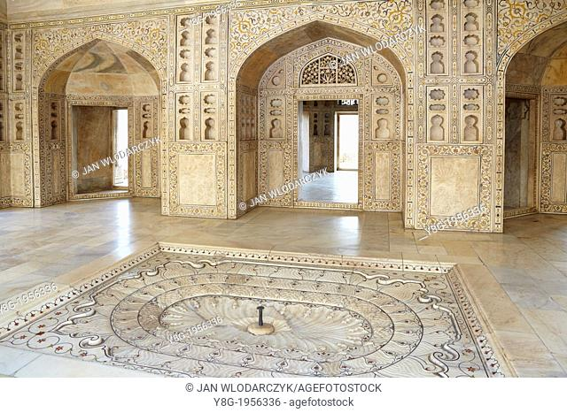 Agra, Red Fort - interior of the Khas Mahal central pavilion with indoor fountain and stone reliefs, Agra, India
