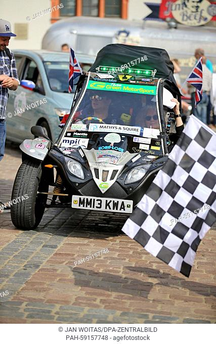 """The English team """"""""Greenmotorsports 1"""""""" starts the Wave Trophy in a GMS Tapir in Plauen, Germany, 13 June 2015. The 5th Elektrorallye Wave Trophy runs from..."""
