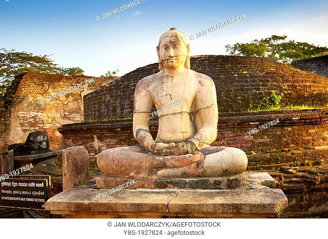Sri Lanka - Vatadage Temple, buddha stone statue, Ancient City area, ruins of ancient Royal Residence, Polonnaruwa, old capital city of Sri Lanka