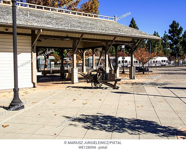 Downtown Mountain View Station building at Centennial Plaza located at Castro Street and Evelyn Avenue. The train station building designed in the style of...