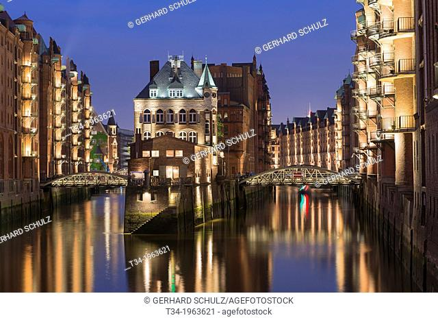 Water Castle at Old Warehouse District of Speicherstadt Hamburg , Germany