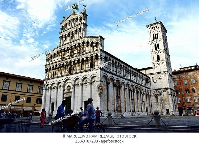 San Michele in Foro is a Roman Catholic basilica church, built over the ancient Roman forum. Lucca, Province of Lucca, Tuscany, Italy, Europe