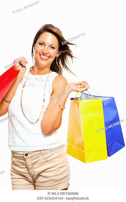young stylish woman with colorful shopping bags schlussverkauf sale isolated against white background