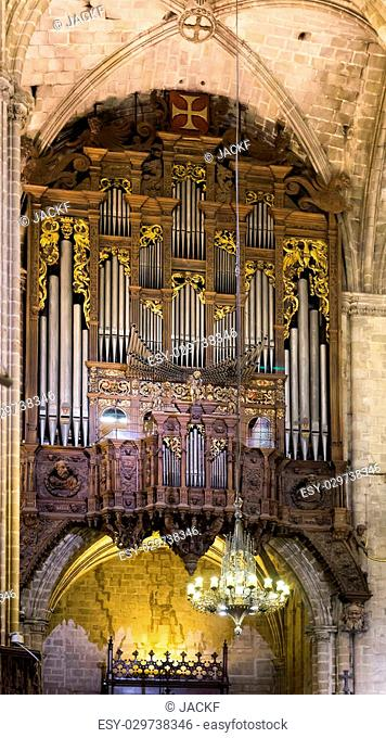 Organ with pipes at The Cathedral of Barcelona