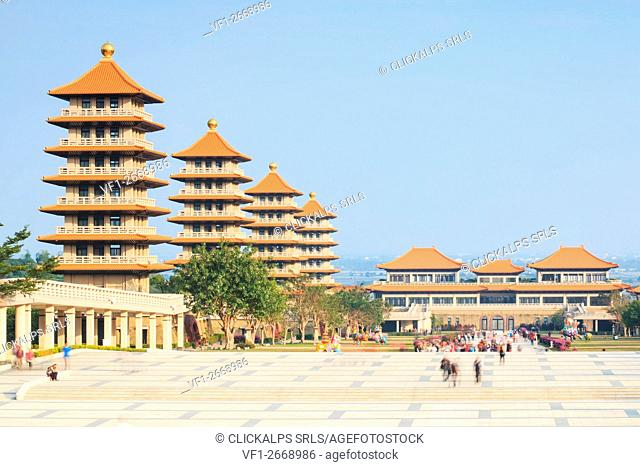 Kaohsiung, Taiwan. Fo Guang Shan buddist temple of Kaohsiung with many tourists walking by