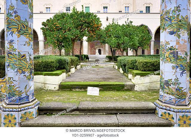 Naples Campania Italy. Santa Chiara Basilica Church. The cloister of theClarisses, transformed in 1742 by Domenico Antonio Vaccaro with the unique addition...